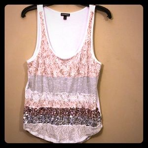 Sequin & Lace Tank Top